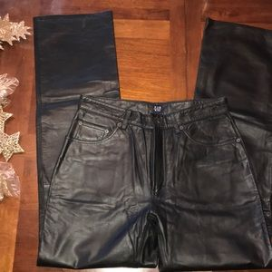 Gap genuine leather pants black